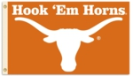 "Texas Longhorns 3' x 5' Flag with Grommets - ""Hook 'Em Horns"""