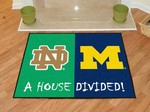 Notre Dame Fighting Irish-Michigan Wolverines House Divided Rug