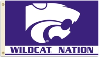 "Kansas State ""Wildcat Nation"" 3' x 5' Flag with Grommets"