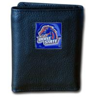 Boise State Broncos Tri-fold Leather Wallet with Tin