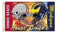 Michigan - Ohio State 3' x 5' House Divided Helmets Flag