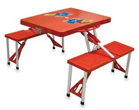 Kansas Jayhawks Folding Picnic Table with Seats - Red