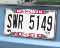 Wisconsin Badgers Chromed Metal License Plate Frame